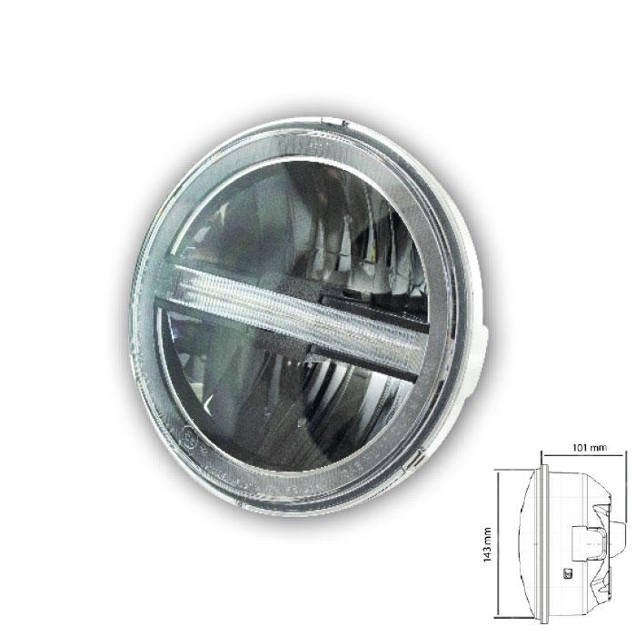 "LED-Scheinwerfereinsatz 5-3/4""+ TFL | ""Horizon"" | Ø=146mm | Klarglas | E-geprüft"