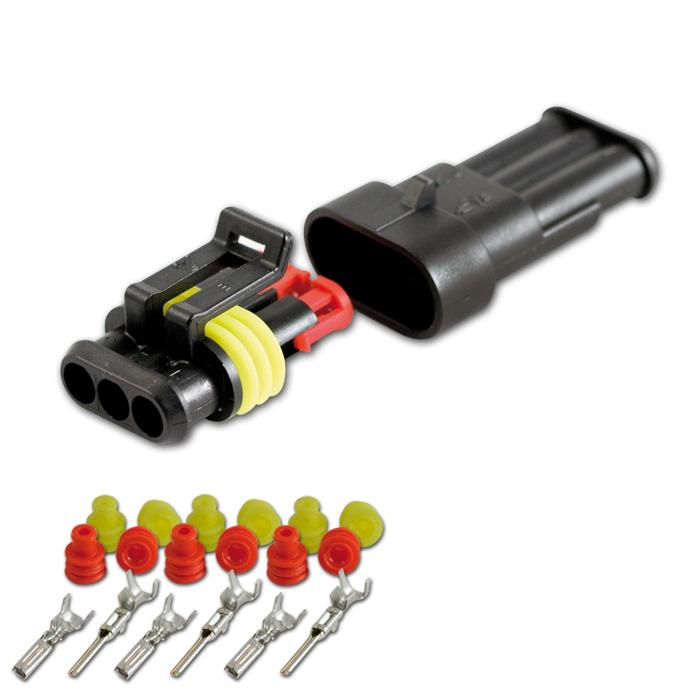 AMP Superseal Gehäuse Set 3-polig, 0,75mm²-1,50mm² inkl. Kontakten + Einzeladerdichtungen (rot/gelb)