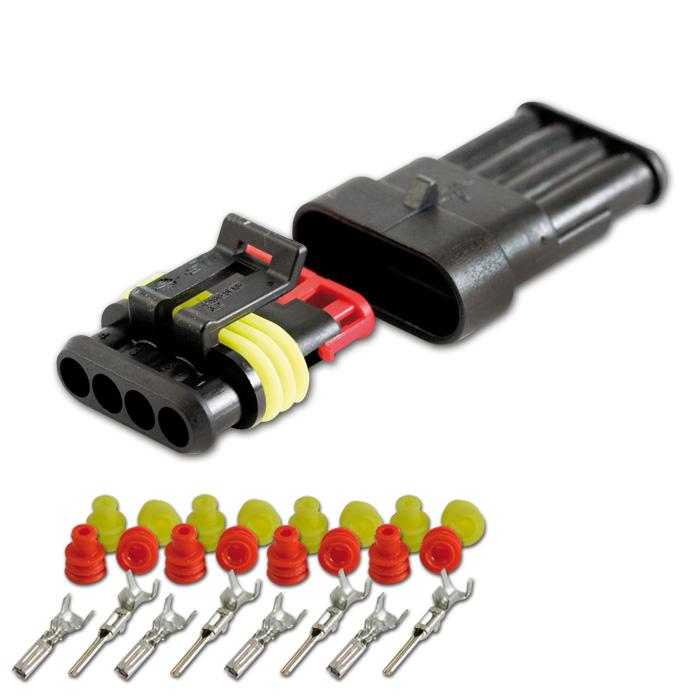 AMP Superseal Gehäuse Set 4-polig, 0,75mm²-1,50mm² inkl. Kontakten + Einzeladerdichtungen (rot/gelb)