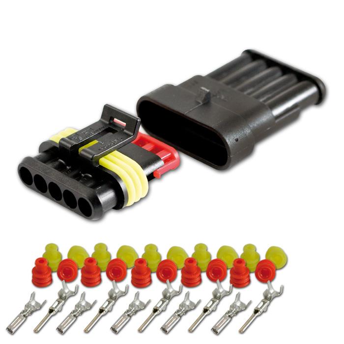 AMP Superseal Gehäuse Set 5-polig, 0,75mm²-1,50mm² inkl. Kontakten + Einzeladerdichtungen (rot/gelb)
