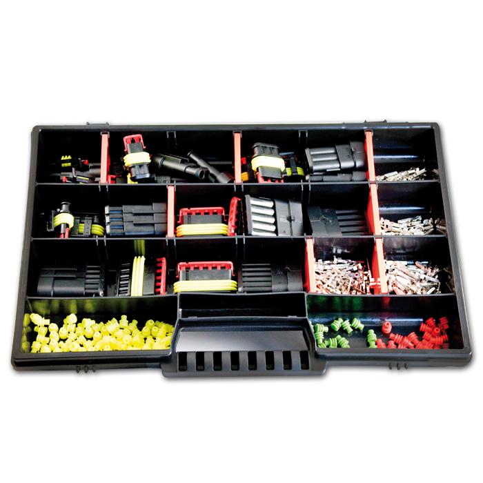 AMP Superseal Starter Set, Sortiment 1 - 6-polig, Stift- und Buchsengehäuse, für 0,35mm²-2,50mm²