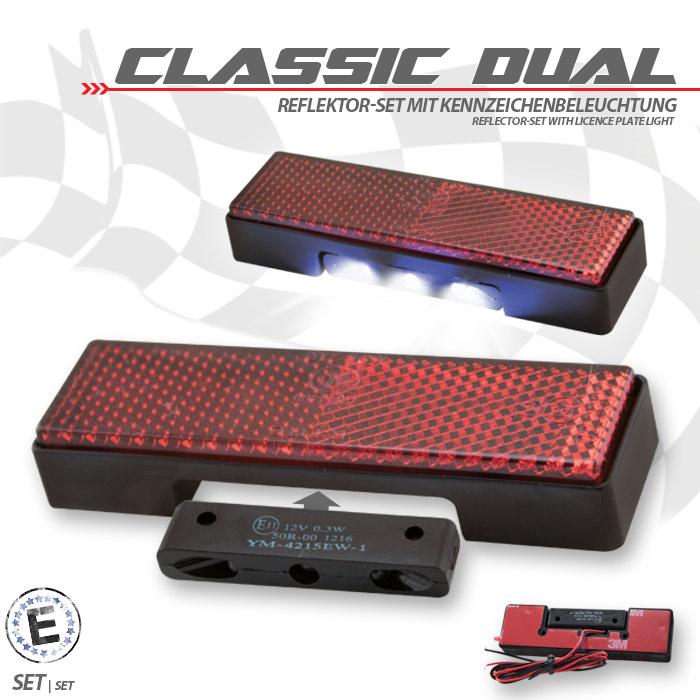 "Reflektor ""Classic Dual"" Set inkl. Beleuchtung Maße: 94 x 27,5  x 9mm, selbstklebend, E-geprüft"