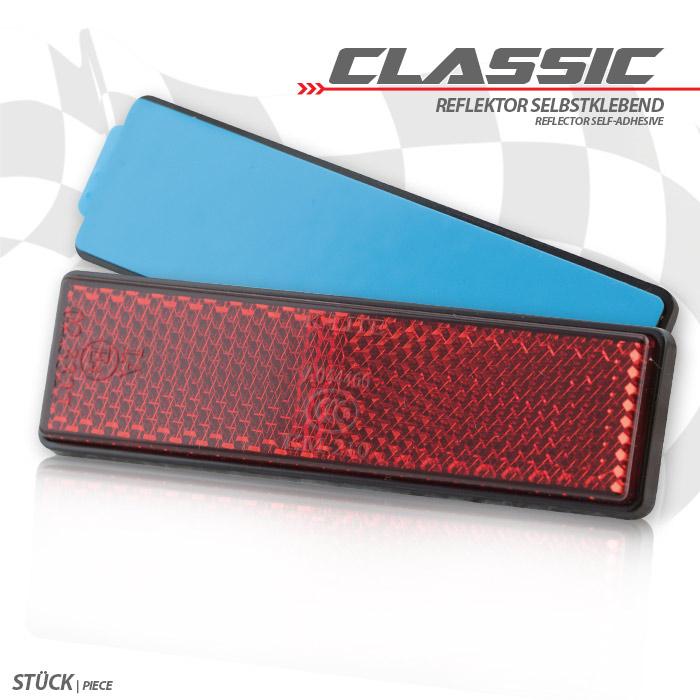 "Reflektor ""Classic"", rechteckig, rot, mit Rand, Maße: 94,2 x 27,8  x 8mm, selbstklebend, E-geprüft"