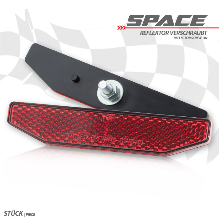 """Reflektor """"Space"""", 6-eckig, rot, Halteschraube M5 mit Arretierpunkt, Maße: B 98 x H 19 mm, E-geprüft"""
