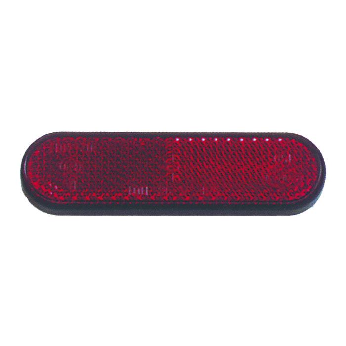 """Reflektor """"Classic"""", abgerundet, rot, mit Rand, Maße: 100 x 28 x 8mm, selbstklebend, E-geprüft"""
