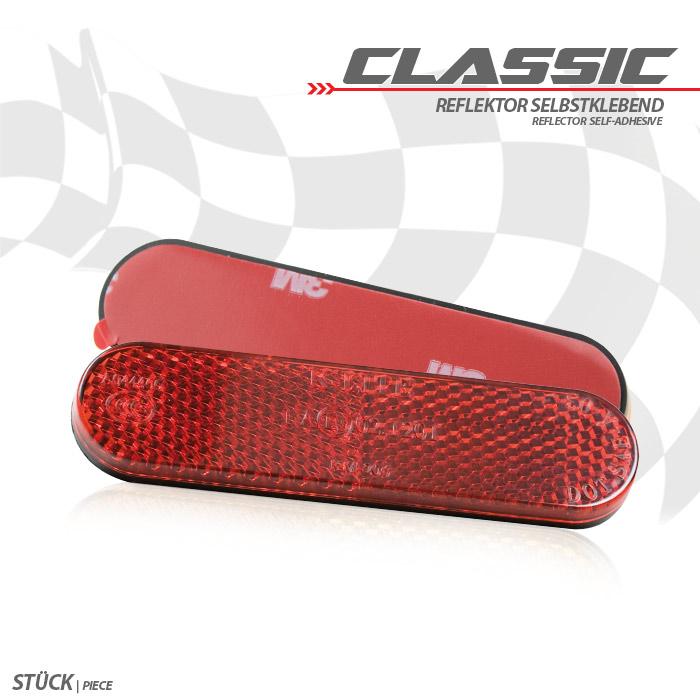 "Reflektor ""Classic"", abgerundet, rot, ohne Rand, Maße: 96 x 24 x 8mm, selbstklebend, E-geprüft"