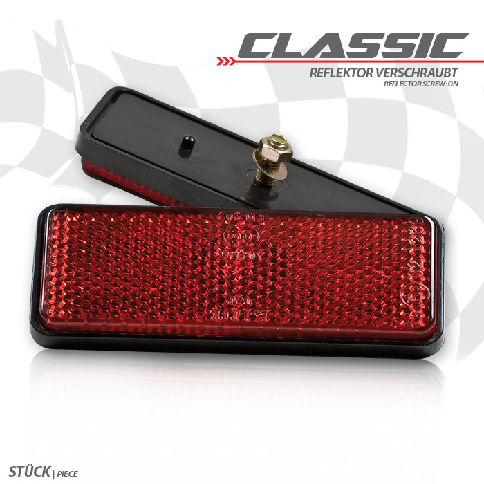 """Reflektor """"Classic"""", rechteckig, rot, mit Rand, Maße: 89 x 35 x 9,5mm, Bolzen M5, E-geprüft"""