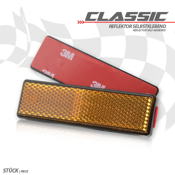 Reflektor, rechteckig, orange, Maße: 90 x 25 mm, selbstklebend, E-geprüft