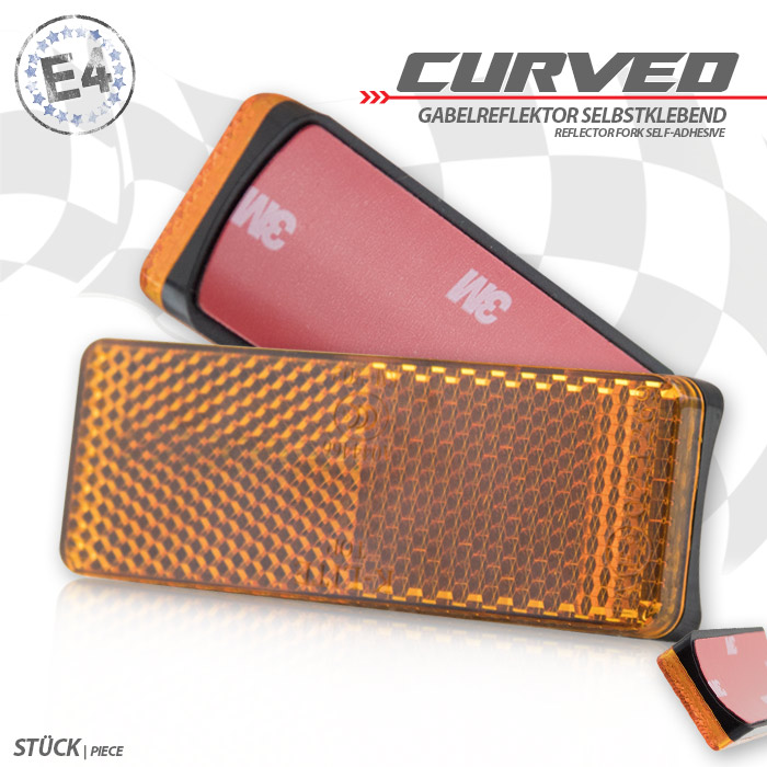 "Gabelklebereflektor ""Curved"", rechteckig, gelb, Ø -60mm, 85 x 31 x 13mm, selbstklebend, E-geprüft"