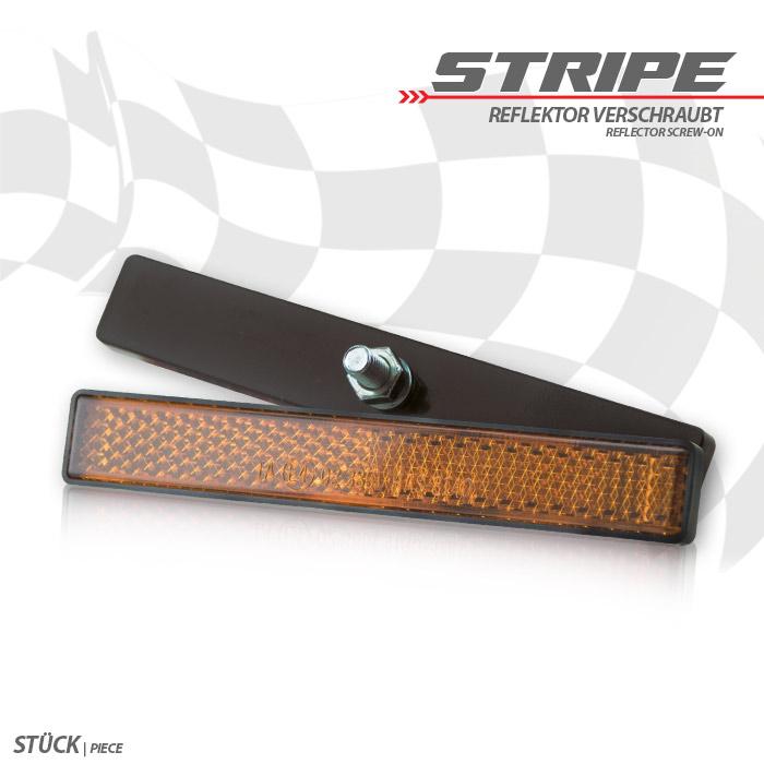 """Reflektor """"Stripe"""", rechteckig, gelb, mit Rand, Maße: 102,5 x 15,3 x 6,7mm, Bolzen M5, E-geprüft"""