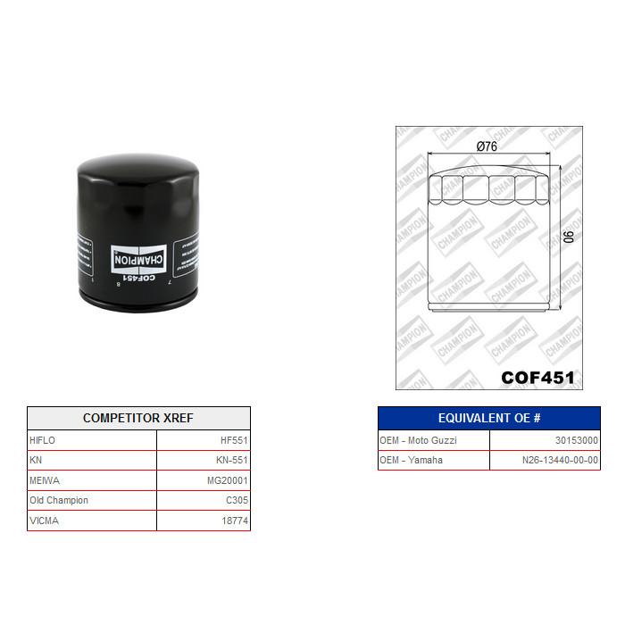 Ölfilter Champion C305 / COF451* (Alternative Hiflo 430551)