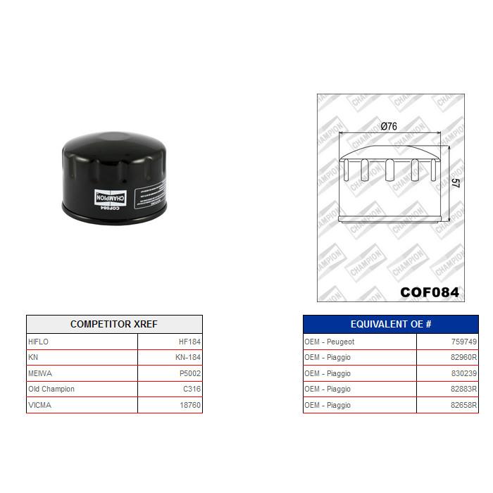 Ölfilter Champion C316 / COF084* (Alternativ Hiflo 430184)