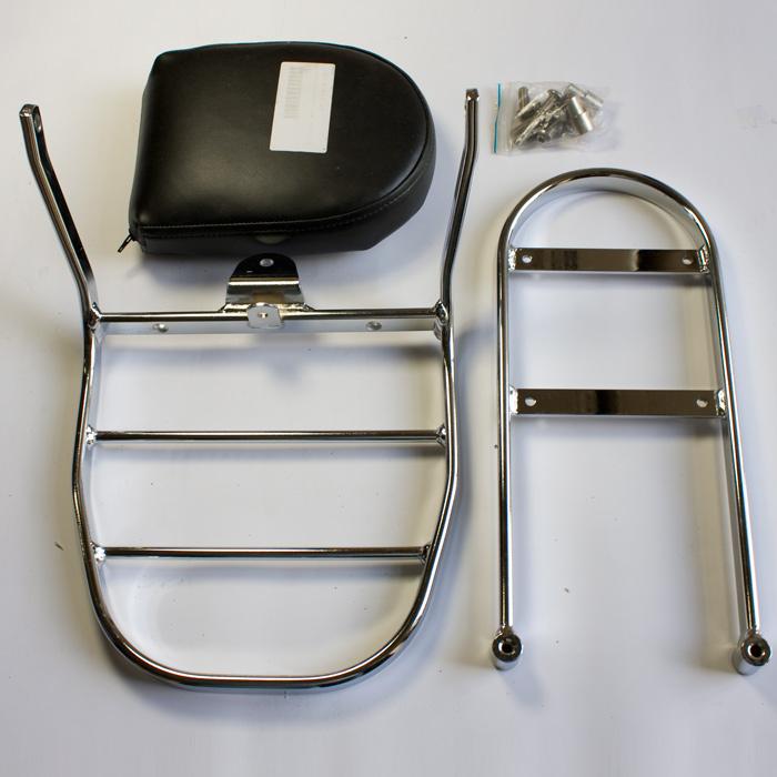 Sissybar Yamaha XVS 125 Dr. mit Gepäckträger (2. Wahl da evtl. Kratzerspuren auf Kissen)