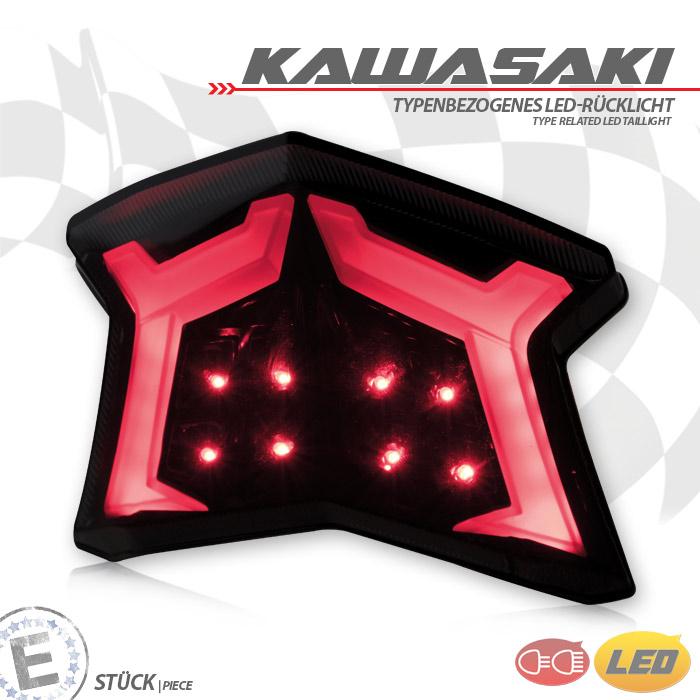 LED-Rücklicht Kawasaki Ninja/Z650/900 Bj. 17-18, getönt, Reflektor schwarz, E-geprüft