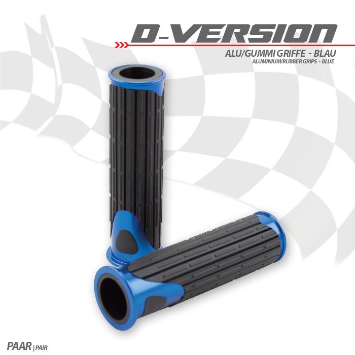 Alu/Gummi-Griffe | D-Version | Blau | 22 mm | Länge: 125 mm | Ende offen
