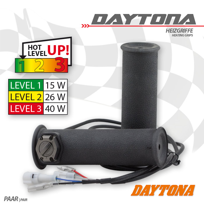 "Heizgriffe | 1""-25,4mm |Daytona IV | geschlossen | Länge: L  134 mm + R  124 mm, 3 fach verstellbar"