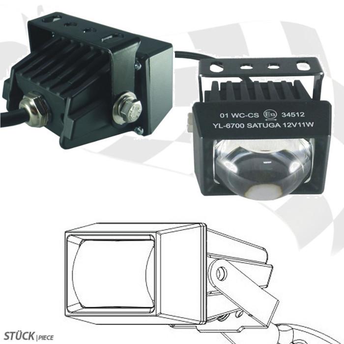 LED-Ellipsoidscheinwerfer mit Abblendlicht, klar, Maße: 76 x 62 x 44 mm, Universalhalter, E-geprüft