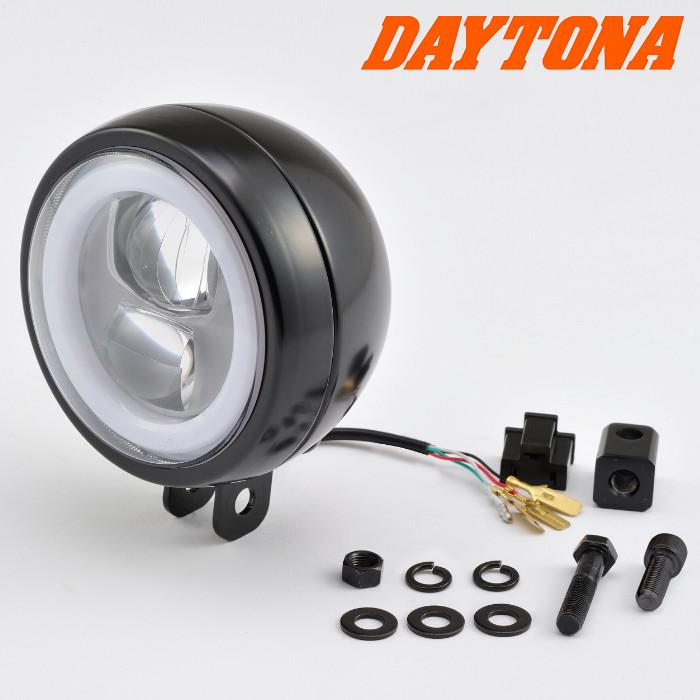 LED-Scheinwerfer 120mm | Daytona | Schwarz | Alu | M8 untere Befestigung | E-geprüft