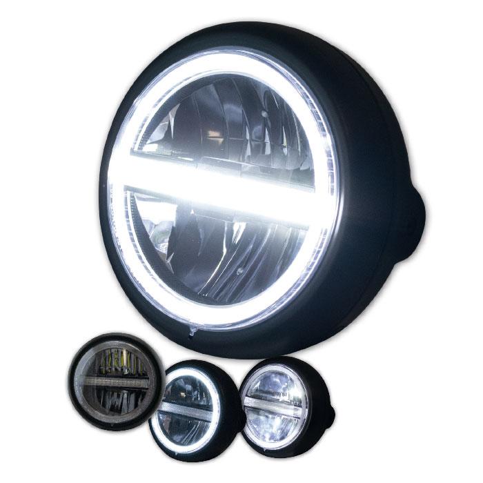 "LED-Scheinwerfer ""Horizon"" 5-3/4"" | schwarz | M8 | Glas Ø=145mm | E-geprüft | Reflektor chrom"