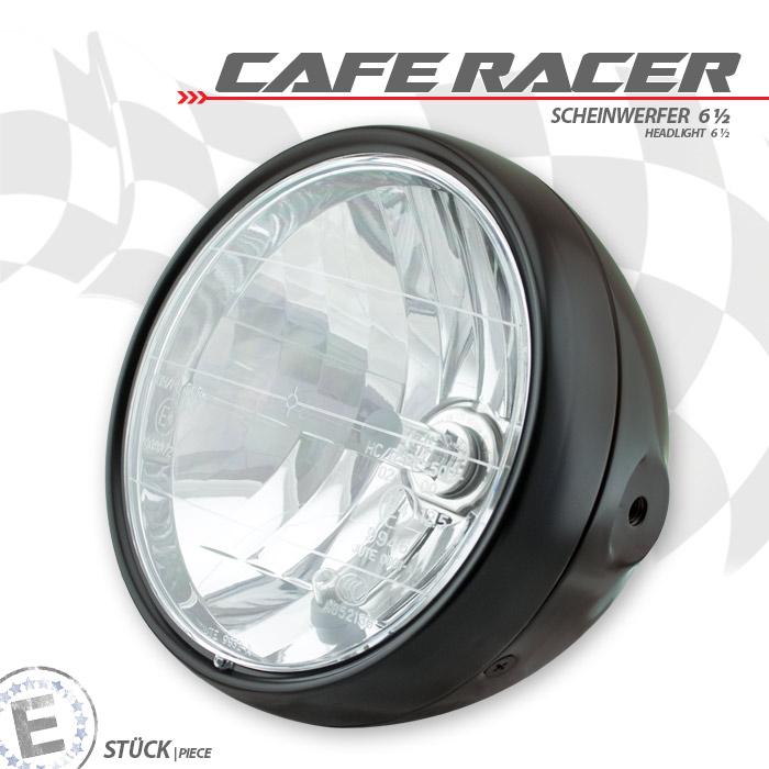 """Scheinwerfer 6-1/2 """"CafeRacer"""", Klarglas, schwarz, H4, Prismenreflektor, M8 seitlich, E-geprüft"""
