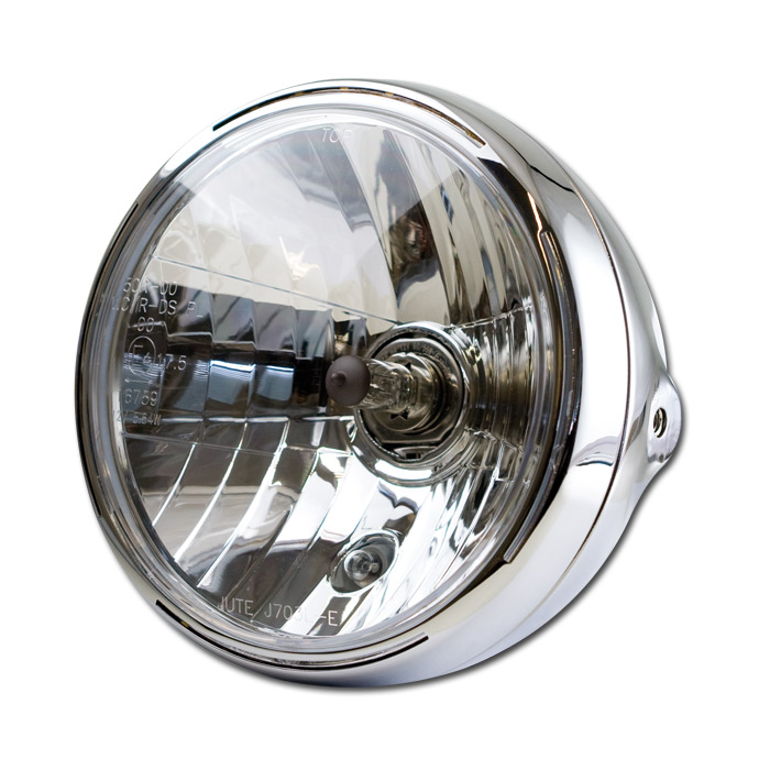 Scheinwerfer 7 Zoll |NEW NEVO | Chrom |Klarglas | H4 Prismenreflektor | M8 seitlich | E-geprüft