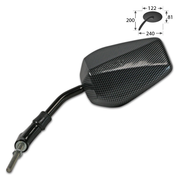 """Uni-Spiegel """"Peugeot/Piaggio"""", links, Carbonlook, Gewinde M8-R (Länge 90 mm), E-geprüft (Auslauf)"""