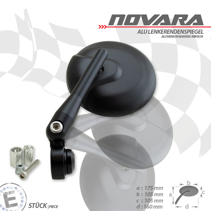 Lenkerendenspiegel | Novara | Alu | Schwarz | M6 | verstellbar | Ø 105mm | E-geprüft