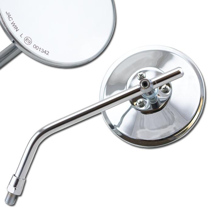 """Universalspiegel """"CUSTOM"""", chrom, rund, Ø 100, 1 x M10-R, L+ R verwendbar, E-geprüft"""