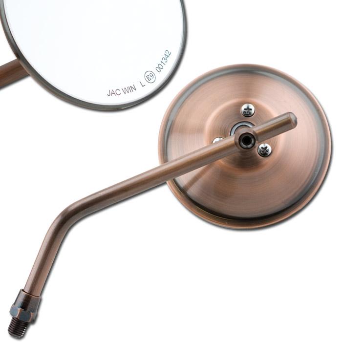 """Universalspiegel """"CUSTOM"""", kupfer, rund, Ø 100, 1 x M10-R, L+ R verwendbar, E-geprüft"""
