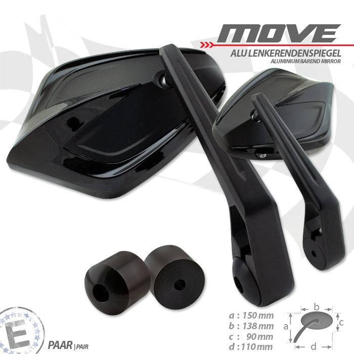 Lenkerendenspiegel MOVE | Schwarz | M6 Universal | Alu | Paar | inkl. Lenkergewichte