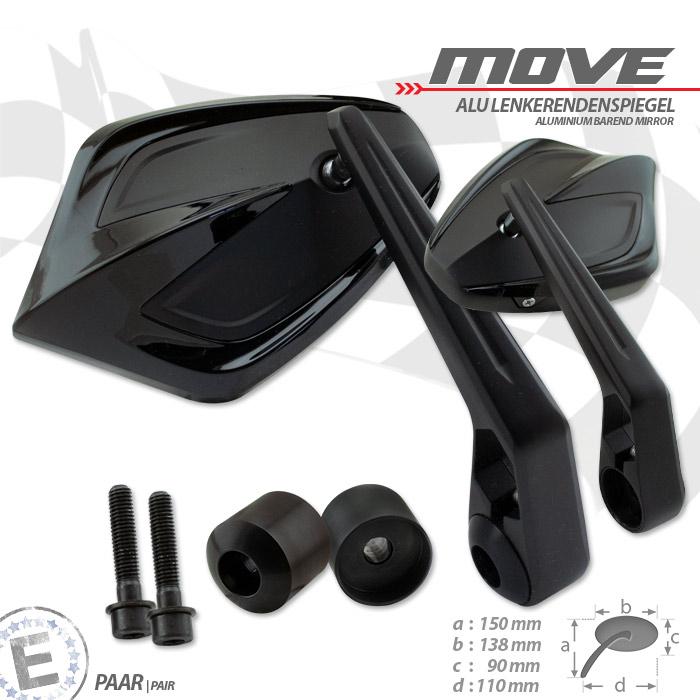 Lenkerendenspiegel MOVE | Schwarz | M8 Kawasaki | Alu | Paar | inkl. Lenkergewichte