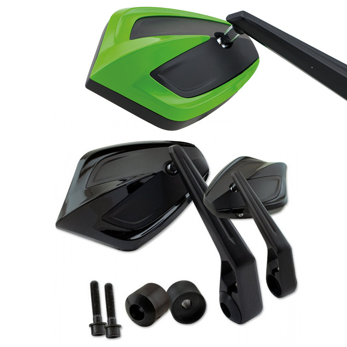 Lenkerendenspiegel MOVE | Grün | M8 Kawasaki | Alu | Paar | inkl. Lenkergewichte