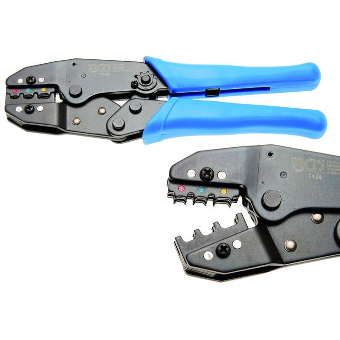 Kabelschuhzange mit Ratschenfunktion 0,5-6 mm², (isolierte Verbinder), 0,5-1,5 / 1,5-2,5 / 4-6 mm²