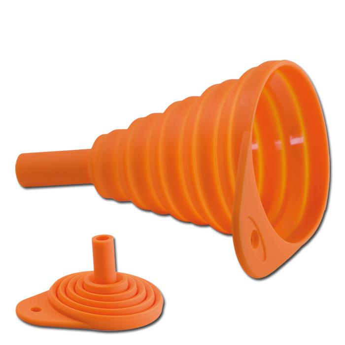 Universal Silikon-Falttrichter, orange, Länge faltbar 50-130 mm, Ø 82 mm