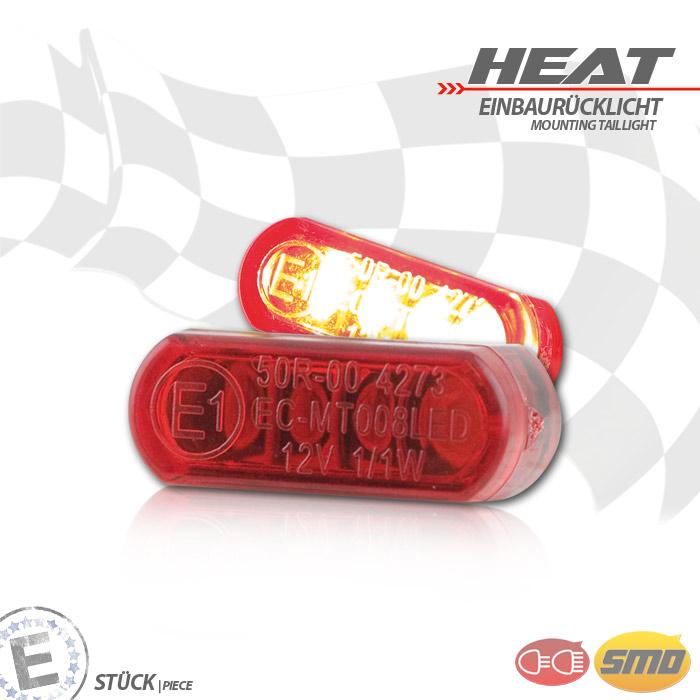 """LED-Einbaurücklicht """"Heat"""", rot, Maße: B 21,5 x H 8,5 x T 11,5 mm, E-geprüft"""