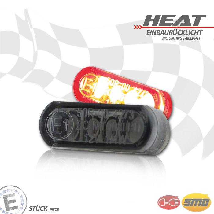 """LED-Einbaurücklicht """"Heat"""", getönt, Maße: B 21,5 x H 8,5 x T 11,5 mm, E-geprüft"""