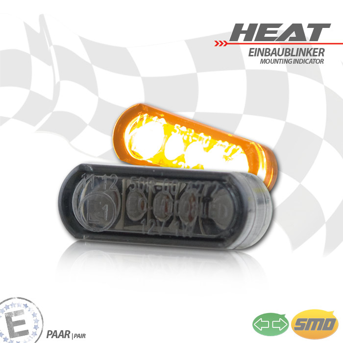 """LED-Einbaublinker-Set,""""Heat"""", getönt, Paar, Maße: B 21,5 x H 8,5 x T 11,5 mm, E-geprüft"""