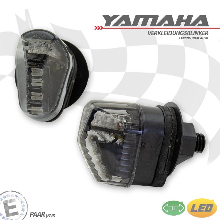 LED-Verkleidungsblinker YAMAHA+ Uni, getönt, Paar, 40x28x38mm, Distanzhülse + Gummi, E-geprüft