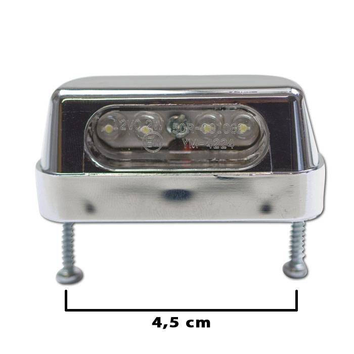 "LED-Kennzeichenbeleuchtung ""Zest"", chrom, ABS, Schraubenabstand: 45mm, E-geprüft"