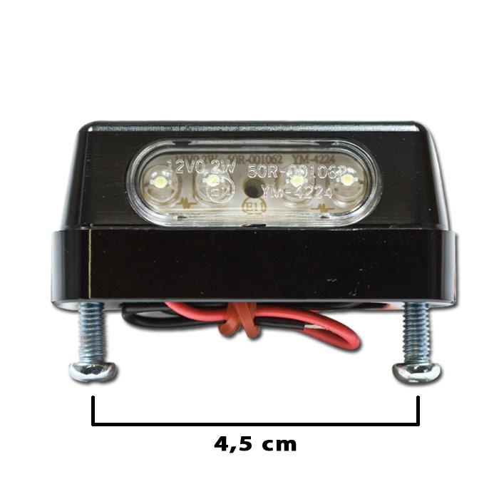 """LED-Kennzeichenbeleuchtung """"Zest"""", schwarz, Alu, Schraubenabstand: 45mm, E-geprüft"""