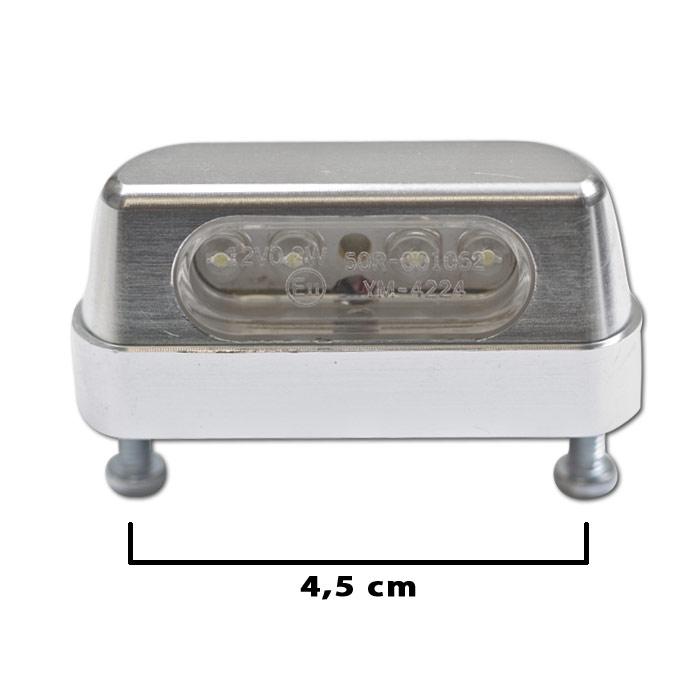 "LED-Kennzeichenbeleuchtung ""Zest"", chrom, Alu, Schraubenabstand: 45mm, E-geprüft"