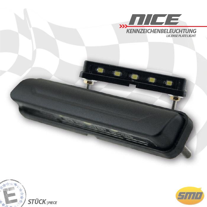 "LED-Kennzeichenbeleuchtung ""Nice"", ABS, schwarz Maße: B 69 x H 12 x T 15 mm, Bolzen M3, E-geprüft"