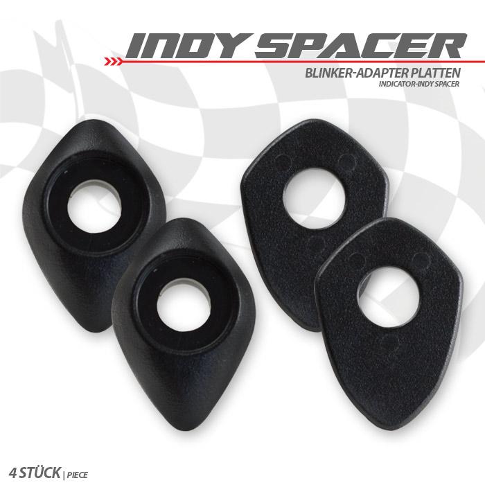 Indy Spacer, schwarz, ABS, 2 x innen/ 2 x aussen, z.B. Ducati Monster 696/ 796/ 1100/ EVO