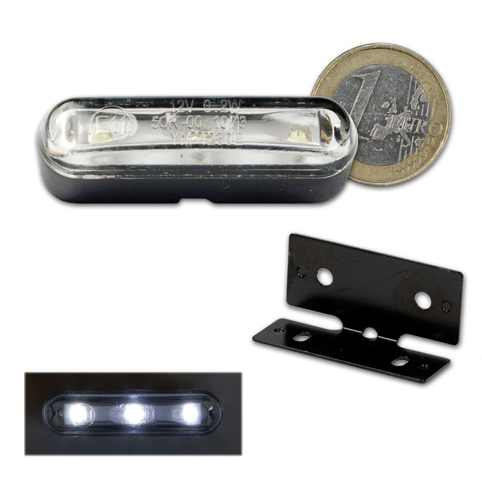 """LED-Kennzeichenbeleuchtung """"TRI"""" mit Halter, E-geprüft, (auch als Standlicht verwendbar)"""