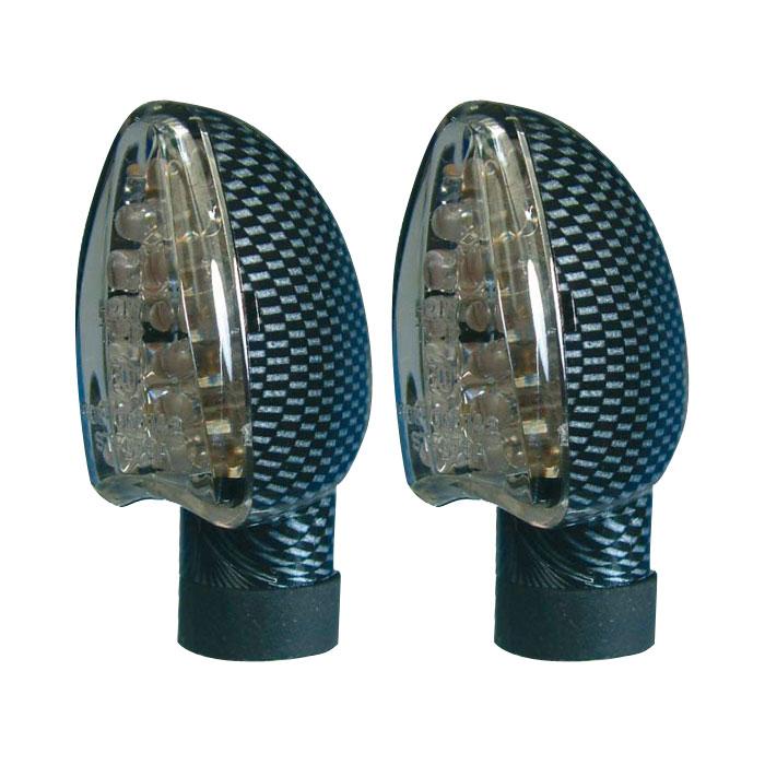 LED-Blinker Arrow, carbonlook, kurz, E-geprüft,* klares Glas, M10, Gummiarm