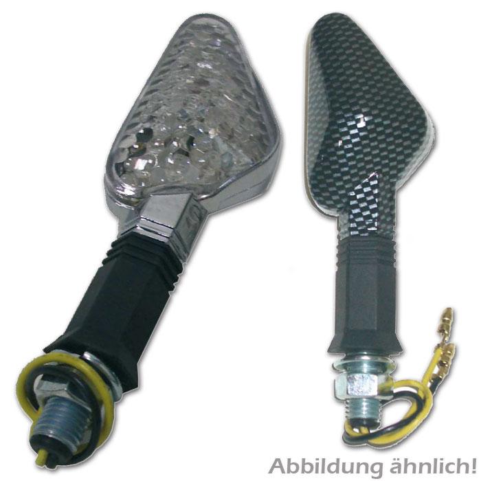 LED-Blinker Trento, chrom, E-geprüft, klar,* flexibler Gummiarm, 55 mm x 30 mm, M10