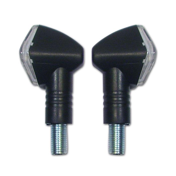 LED-Blinker Diamond, schwarz, kurz, E-geprüft,* LED s 12V/2W, klares Glas, M10