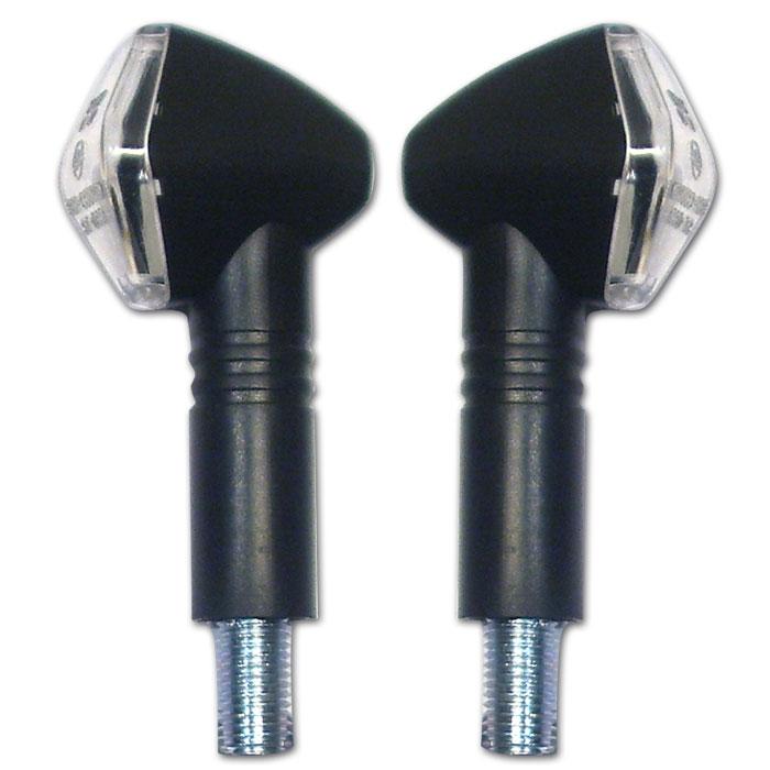 LED-Blinker Diamond, schwarz, lang, E-geprüft, LED s 12V/2W, klares Glas, M10