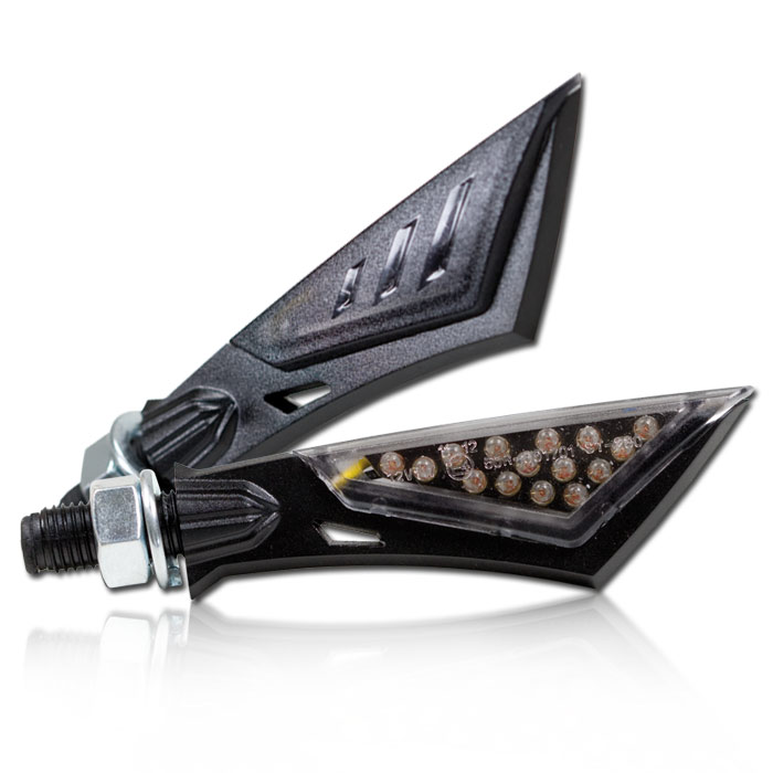 "LED-Blinker ""Sword"", schwarz, getöntes Glas, Maße: L 80 x T 25 x H 12 mm, M10, E-geprüft"
