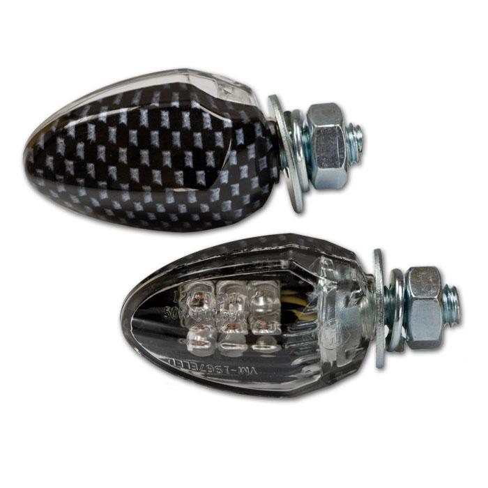 """LED-Blinker """"Drop"""", carbonlook, klares Glas, M6,* Maße: L 33 x B 20 x T 22 mm, nur hinten E-geprüft"""